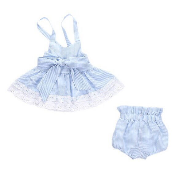 0-24M Newborn Baby Girl Strip Lace Crop Top +Bowknot Bottom Shorts 2PCS Outfit Sunsuit Toddler Kids Clothing Set summer casual denim newborn toddler baby girl clothing kids off shoulder crop tops shorts outfit clothes set
