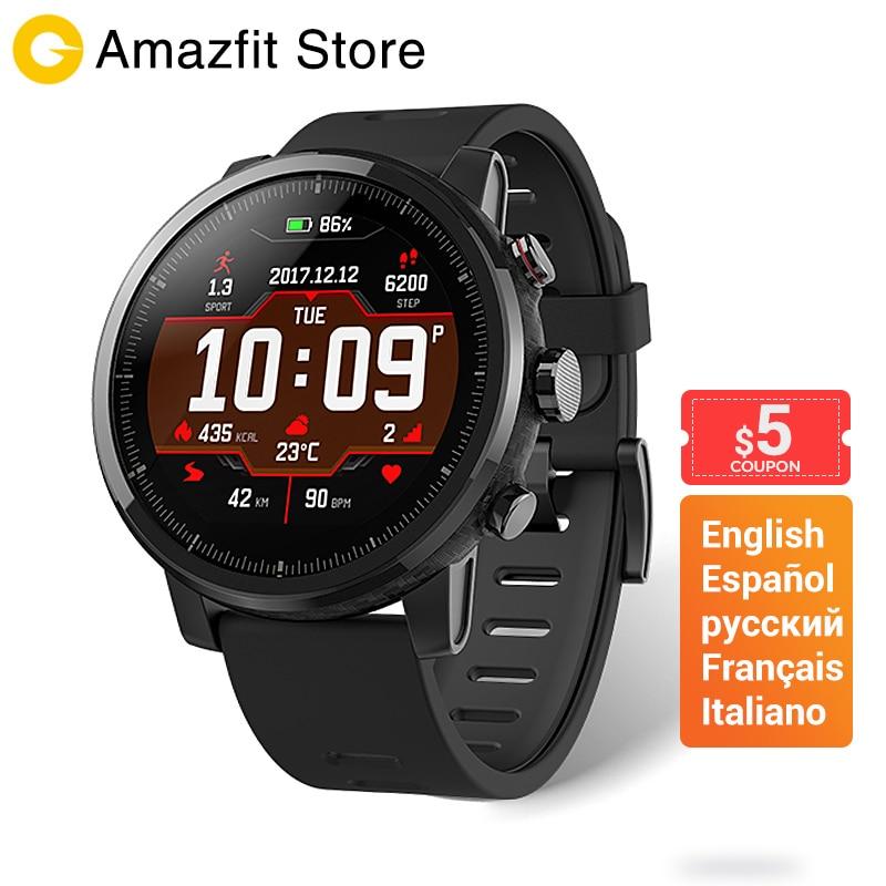 Huami Amazfit Stratos 2 Smartwatch rappel d'appel Bluetooth musique GPS Support11 Modes Sport 5ATM étanche longue batterie de veille