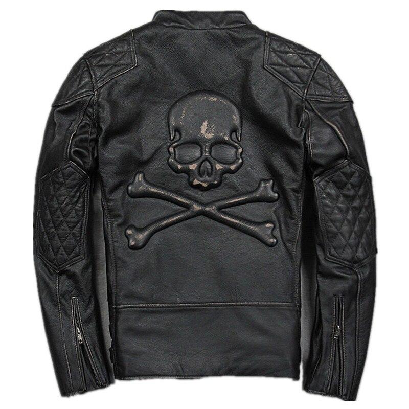 2017 Men Vintage Black Skull Leather Motorcycle font b Jacket b font Plus Size XXXXXL Real