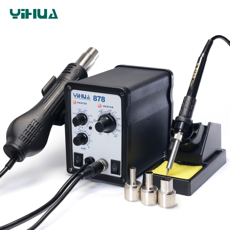 YIHUA 878 Lead Free Hot Air Soldering Station Repairing Mobile Phone Weldering Soldering Iron Station Welding Tool