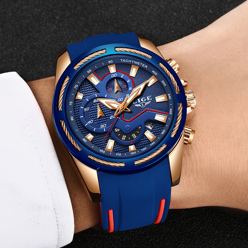 Image 2 - LIGE Fashion Mens Watches Top Brand Luxury Multi function dial Sports Watch Men Date Waterproof Quartz Clock Relogio Masculino-in Quartz Watches from Watches