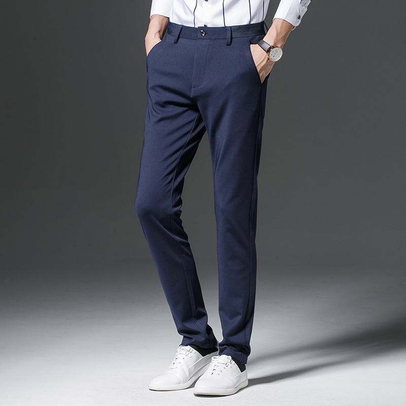 2018 New Arrival Spring Autumn Small Directly Canister Trousers Solid Color Mid-waist Slim Business Affairs Casual Men Pants