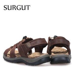 Image 2 - Surgut ブランド通気性のサンダルの本物の革の靴男性のサンダルノンスリップビーチ夏スリッパ男性ビッグサイズ