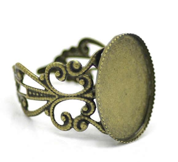 "DoreenBeads אבץ מתכת סגסוגת מתכוונן טבעות סגלגל עתיק ברונזה קרושון הגדרות (מתאים 18mm x 13mm) 18.3mm (6/8 "") (ארה""ב) 1 חתיכה"