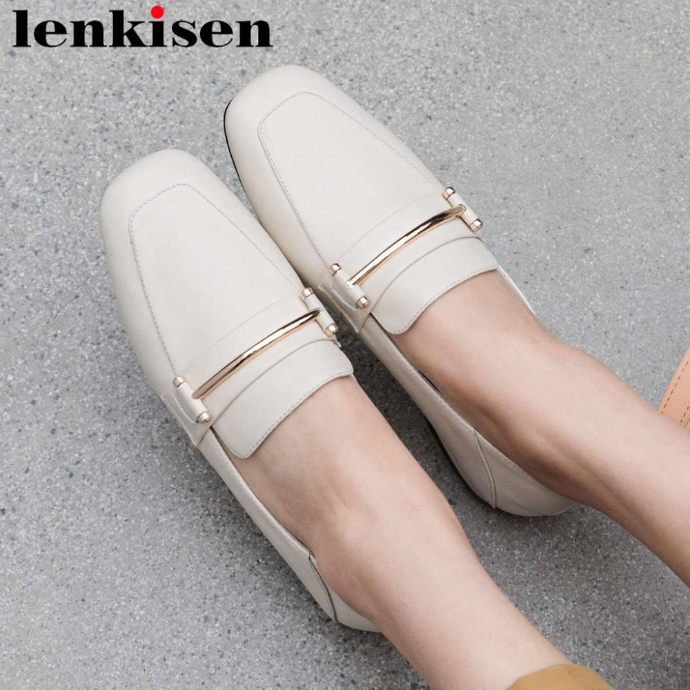 2019 British style natural leather slip on metal decoration shallow pregnant woman shoes vintage square toe