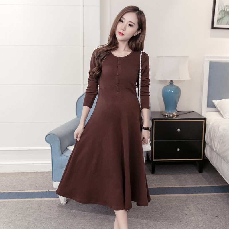 Loose Expectant Mother Dresses Long Sleeve Maternity Casual Dress Pregnant Women Long Nursing Clothing