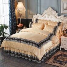 Роскошный Королевский Комплект постельного белья Шелковый хлопковое стеганное одеяло кружевное постельное покрывало наволочки 4 шт