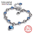 GALAXY Brand New Fashion Crystal Rhinestone Charm Bracelets For Women White Gold Plated Heart Bracelet Fine Jewelry YB071