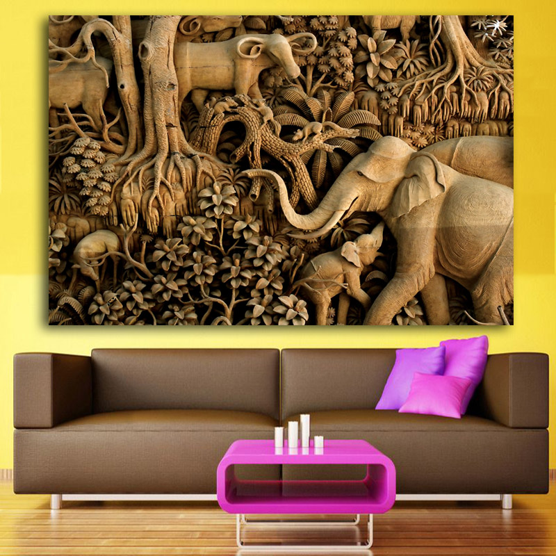 Elephant Family Pictures 3D Paintings Abstract Wall Art