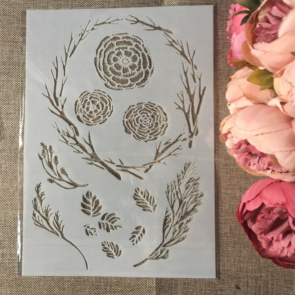 1Pcs A4 Branch Flower Circle DIY Layering Stencils Wall Painting Scrapbook Coloring Embossing Album Decorative Paper Template