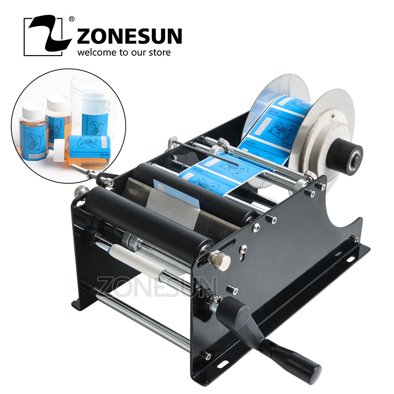 ZONESUN Simple Manual Handy Round Bottle Labeling Machine manual round bottle labeler,label applicator for PET plastic bottle new arrived mt 50 glass manual round bottle labeler glass round bottle machine round tank adhesive labeling machine