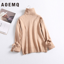 AOEMQ Winter Sweater Solid Striped Casual Home Wear Keep Warm Sweater Thick Hand Made Sweater with Ribbon for Women Clothing недорого