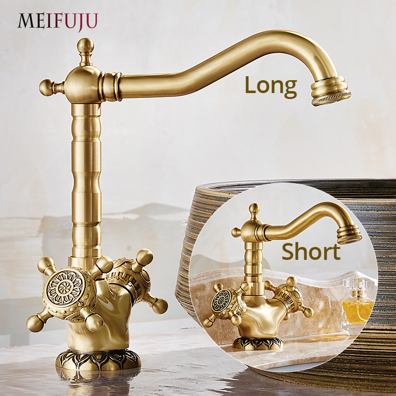 Luxury Antique Bronze 360 Degree Swivel Brass Faucet Bathroom Kitchen Basin Sink Mixer Bath taps Faucet Dual Cross Head Handle 2 hole deck mounted 360 swivel spout bathroom basin faucet antique brass dual cross handles kitchen sink mixer taps wnf036