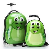 HOT 2PCS/Set child anime School bag boy luggage animal 17 inch cartoon Rolling suitcase kids travel trolley case Boarding box