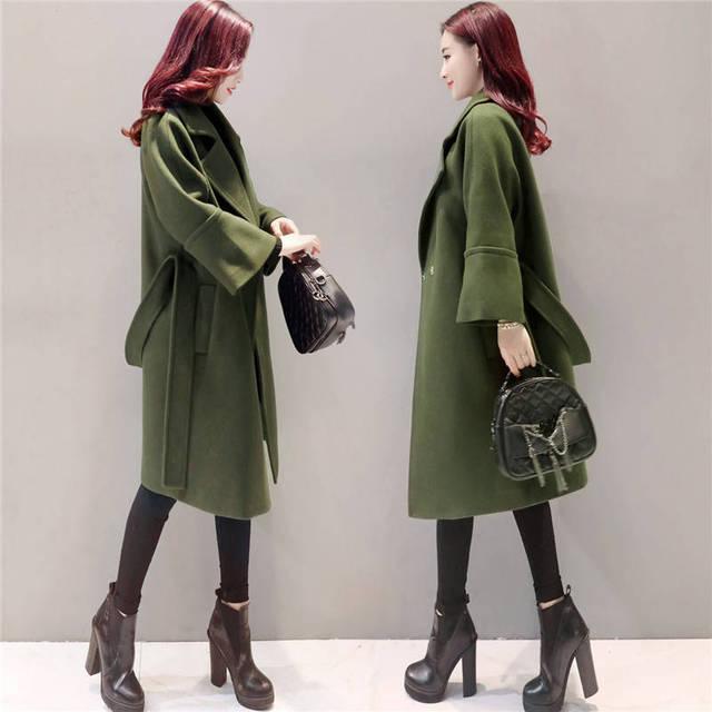 Army Green Woolen Coat Women 2018 Long Parkas Manteau Femme Elegant Winter Coat Women Flare Sleeve Belt Wool Jacket Female C3617 3