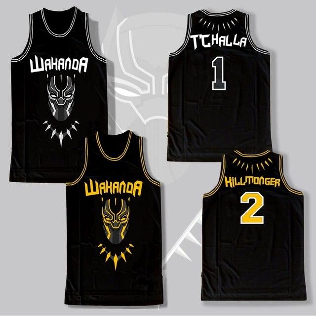new black panther wakanda t challa killmonger movie basketball jersey stitched