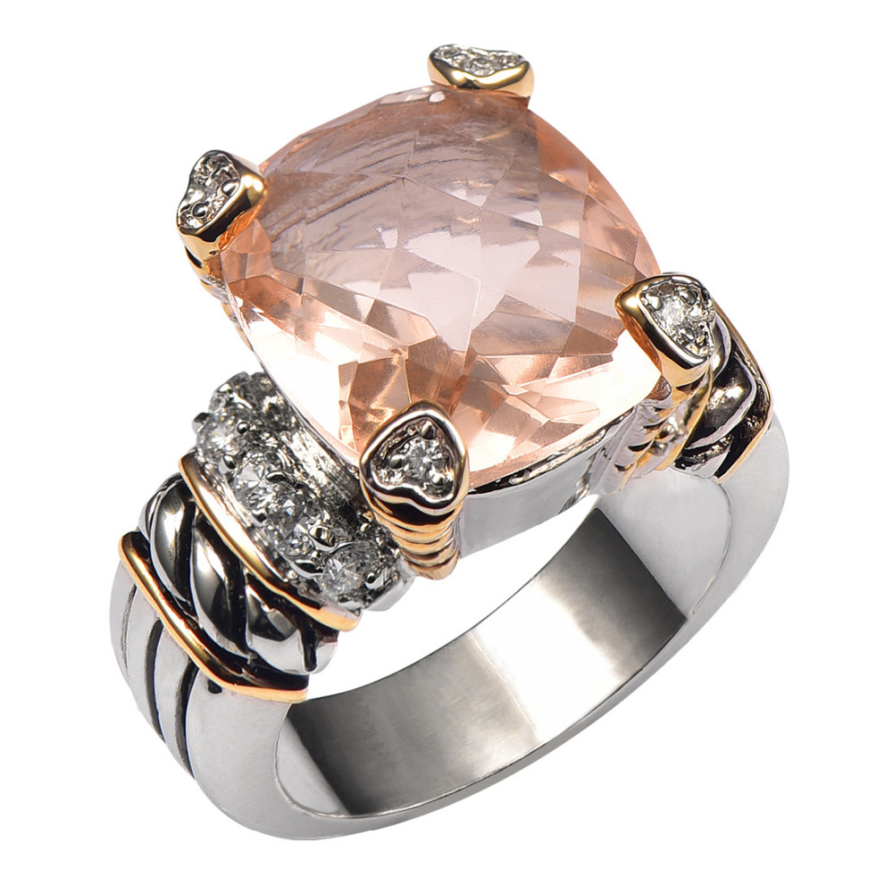 Forró eladó Morganite 925 ezüst magas mennyiségű gyűrű férfiak és nők számára Méret 6 7 8 9 10 F1441