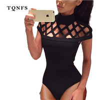 TQNFS 2017 New Fashion Hollow Out Sexy Women Bodysuit Short Sleeve Women Jumpers And Rompers Casual
