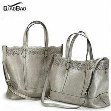 QIAO BAO 100% Echtem Leder Handtasche Mode Rindsleder Umhängetasche Cabas Big Bags Tote Einkaufstasche 2017 Neueste Design