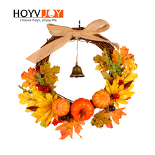 HOYVJOY Maple Leaf Pumpkin Wreath For Halloween Decoration Pumpkin Decor Artifical Garland 30cm Hand On The Wall Door Decorate купить недорого в Москве