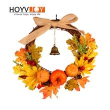 HOYVJOY Maple Leaf Pumpkin Wreath For Halloween Decoration Decor Artifical Garland 30cm Hand On The Wall Door Decorate