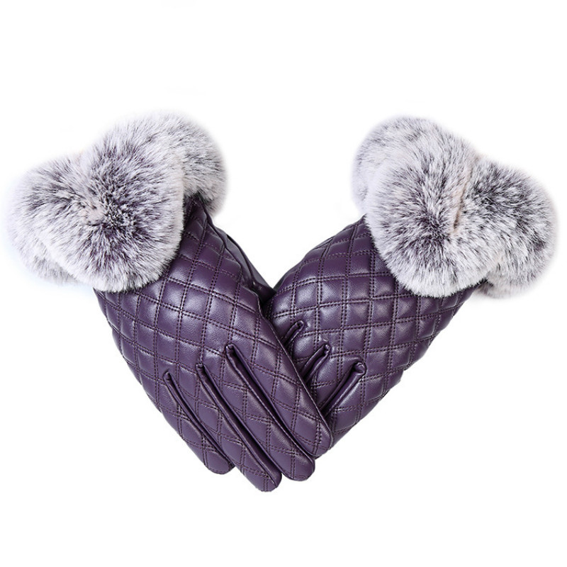 HTB1h846bwkLL1JjSZFpq6y7nFXa4 - KUYOMENS Fashion Women Warm Thick Winter Gloves Leather Elegant Girls Brand Mittens Free Size With Rabbit Fur Female Gloves