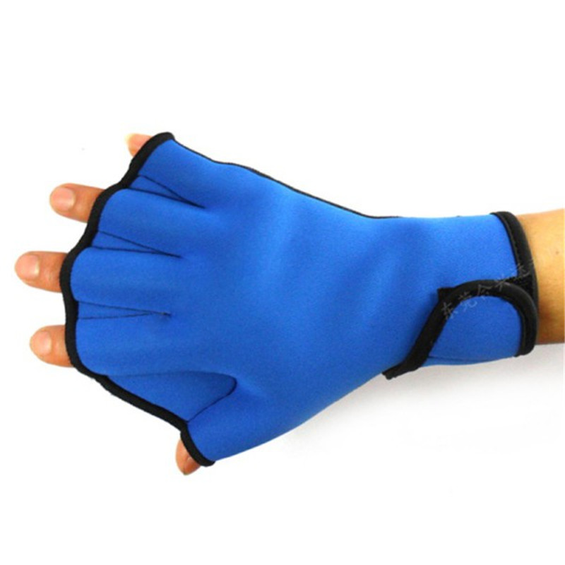 1 Pair Water Aqua Swim Blue Aerobics Surfing Swimming Diving High Paddle Gloves Neoprene Jogger Quality Webbed