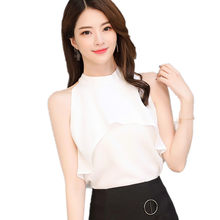 B3094 Spring and summer 2018 new Korean version women's wear fashion sexy slim casual chiffon shirt cheap wholesale(China)