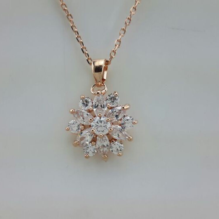 RNAFASHION Hot Elegant Design Grade AAA Cubic Zirconia Women Pendant Necklace Rose Gold Filled Women Wedding Jewellery