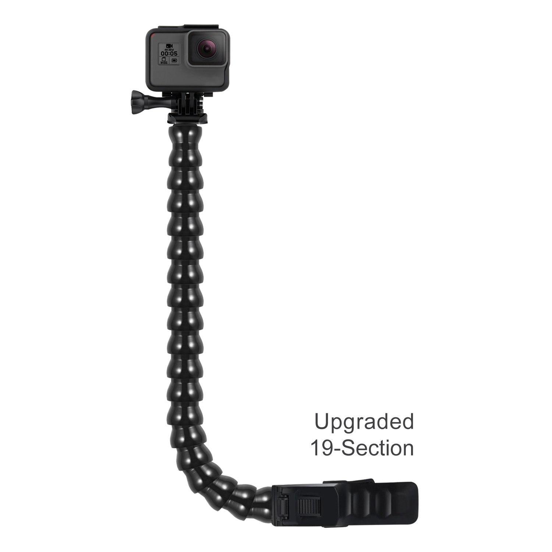 Jaws Flex Clamp Mount con cuello de cisne ajustable 19 sección para GoPro fusión héroe sesión/Hero 3/4 /5/6 + 3/2 Xiaomi Yi AKASO EK7000