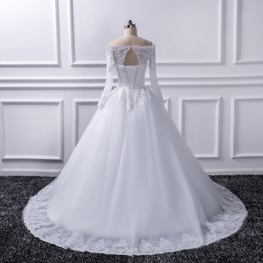 2017 Luxury Vintage Long Sleeves Off Shoulder Wedding Princess Lace Alliques Bridal Bride Gowns Robe De Mariage In From Weddings