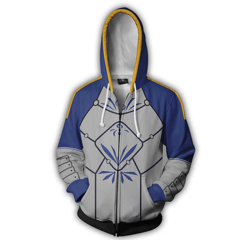 3D Gedruckt Hoodie Anime Fate Grand Auftrag Altria Pendragon Cosplay Zip Up Jacke Kleidung Winter Mit Kapuze Sweatshirt Streatwear Mantel