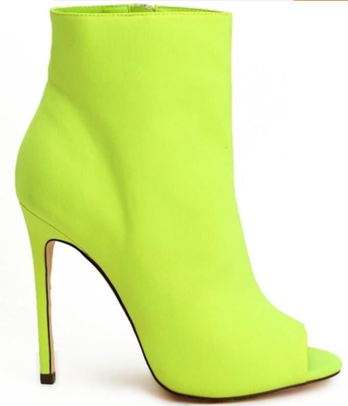 Sestito 2019 Women Florescent Light High Heels Ankle Boots Female Peep Toe Gladiator Sandals Boots Lady Side Zipper Dress BootsSestito 2019 Women Florescent Light High Heels Ankle Boots Female Peep Toe Gladiator Sandals Boots Lady Side Zipper Dress Boots