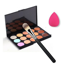 15 Color Concealer Palette + Makeup Brush + Sponge Puff Makeup Contour Palette  G6622