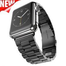 Banda de Aço inoxidável Para A Apple Assista Bracelete Ligação Pulseira 38mm 42mm Faixa de Relógio De Metal para iWatch Inteligente