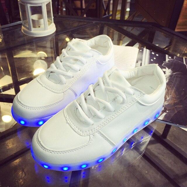 8 Цвета СВЕТОДИОДНЫЕ Обувь Chaussure Мужчин Повседневная Обувь Светодиодные Светящиеся Обувь USB Зарядки Свет Мужская Мода Светящиеся Обувь Size35-46