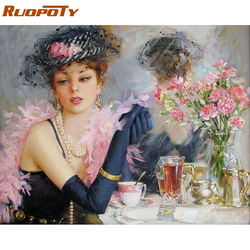RUOPOTY Beautiful Bride DIY Digital Oljemaleri Med Tall Lommebok Art Handmalt Oljemaleri Til Home Decoration 40X50CM