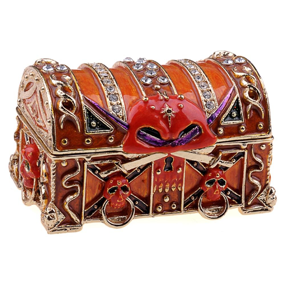 rhinestone pirate jeweled chest pewter ornament skull magic