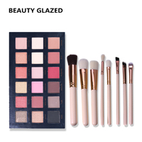 BEAUTY GLAZED Brand Makeup Set Professional Eyeshadow Palette 18color In 1 With Brush Set Long Lasting