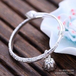 Image 2 - 925 sterling zilveren sieraden Sterling Zilver kleine lotus bloem armband vrouwelijke modellen verzending
