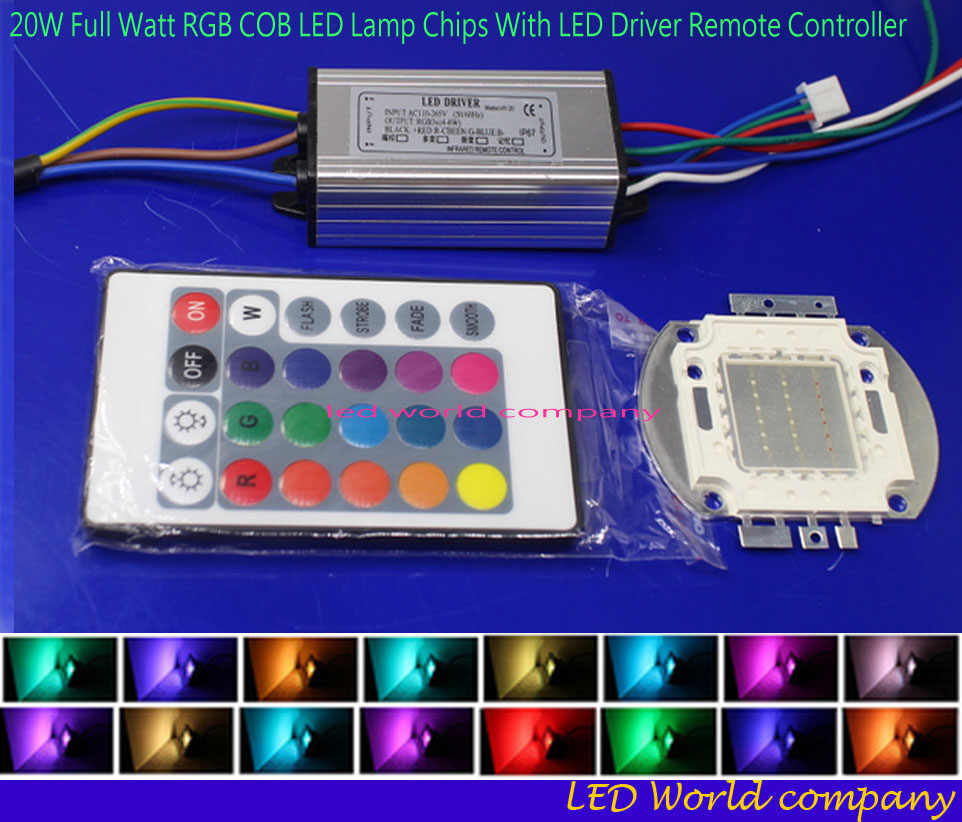 1ste 20W rgb  led chip+20W RGB LED Driver  Waterproof+24key  Remote kit  For Flood Light Lawn Lighting