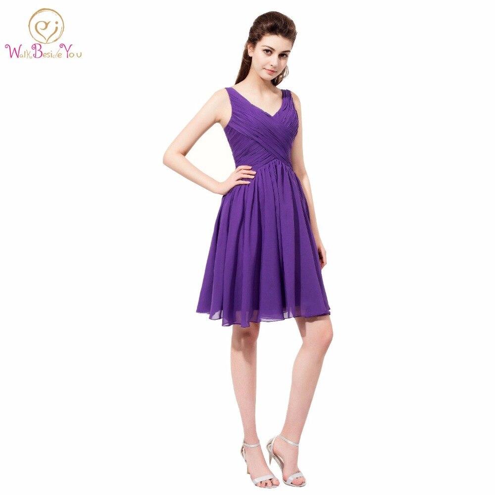 Walk Beside You Purple Bridesmaid Dresses Chiffon Short V Neck Elegant Dress Women For Wedding Party Dama De Honor Free Shipping