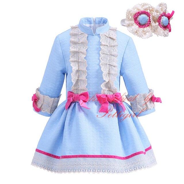 Pettigirl 2017new outono azul menina vestido garoto vestido de renda completa com bowknots headband boutique casuais crianças usam g-dmgd908-982