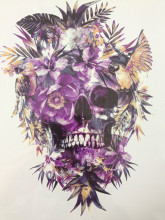 2016 Hot Sale21 X 15 CM Purple Skull Beautiful Temporary Tattoo Stickers Temporary Body Art  Waterproof#140
