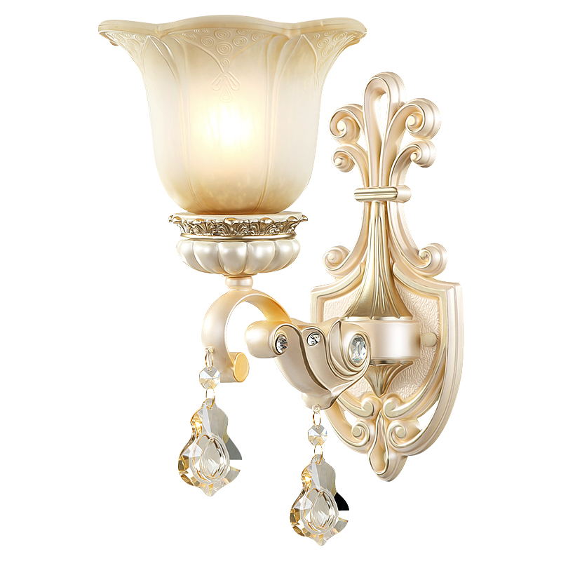 European Crystal Wall Lamp Bedside Wall Light for Living Room Bedroom Foyer Dining Room Wall Decoration Sconces