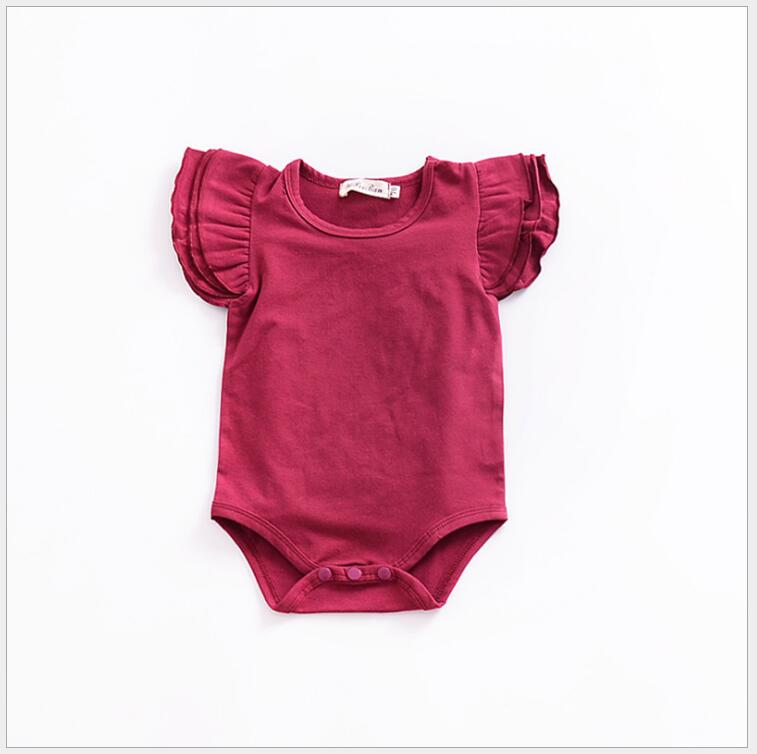 a3461825ac91 Aliexpress.com   Buy Baby Girl Romper newborn baby Solid flying sleeve  cotton jumpsuits toddler Overalls Infant Clothing for first birthday party  from ...