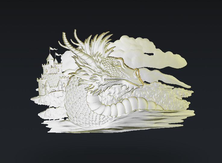 Dragon d model relief stl for cnc router carving