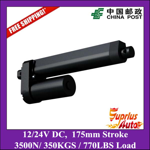 цена на 7inch (175mm) Stroke 12/24V DC electric linear actuator, max load 3500N/ 770lbs heavy duty mini linear actuator