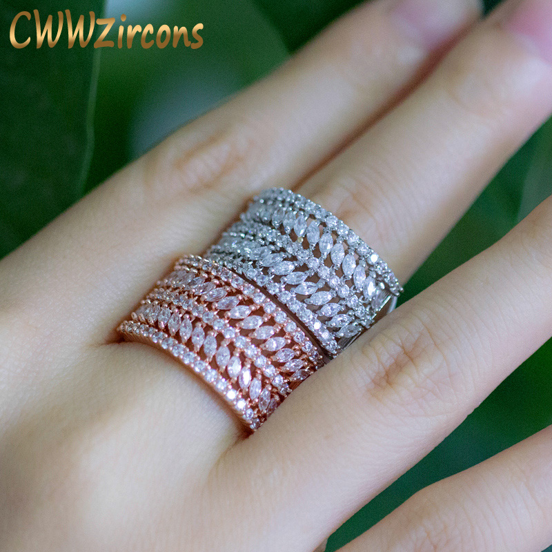 CWWZircons Luxury Brand Designer Jewelry Rose Gold Color Round Marquise CZ Stone OL Style Big Finger Rings for Women R054 6pcs of stylish color glazed round rings for women