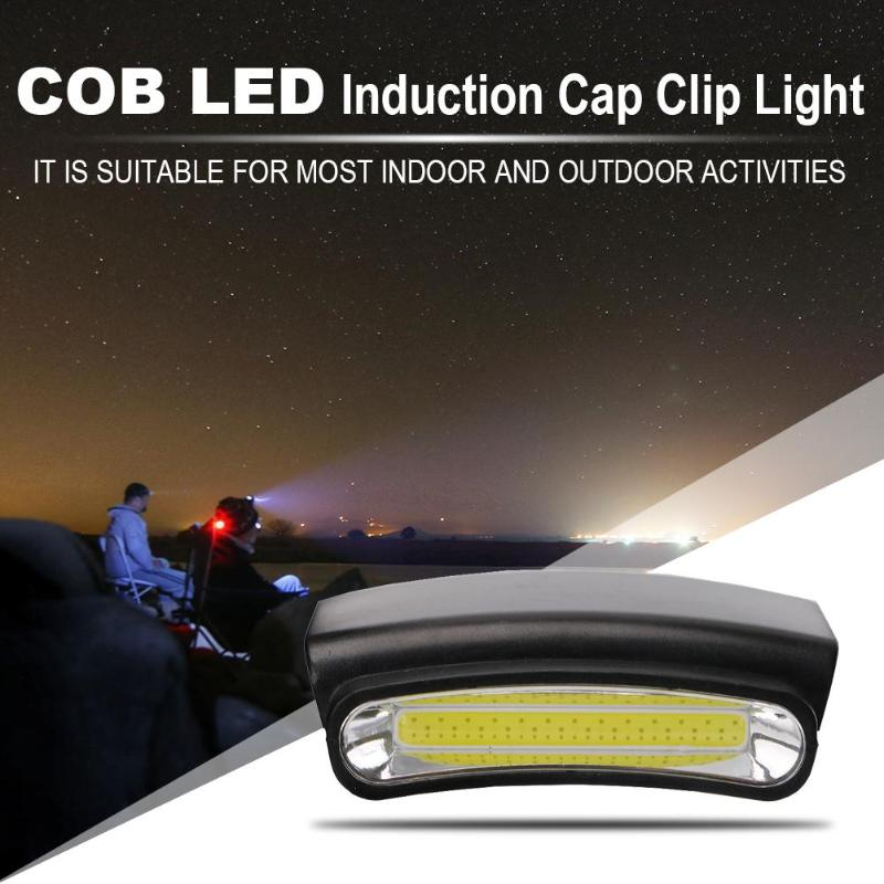 COB LED Induction Cap Clip Light Flashlight Waterproof Fishing Headlights Lamp